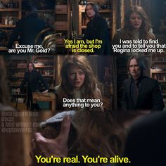 This moment when I rewatch it now makes me tear up. She was under such horrible treatment all the while Rumplestilskin had thought she was dead so even though his heart soars with happiness that she is alive he can see how horribly she has been treated and wants to extract his revenge