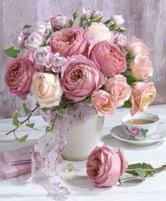 Peônias e rosas