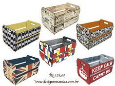 caixotes - Pesquisa Google Painted Boxes, Wooden Boxes, Wood Crates, Retro Home, Craft Work, Diy Furniture, Easy Diy, Decorative Boxes, Projects