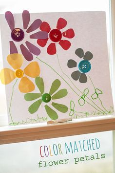Spring color matching activity with flower petals -- and make pretty flowers!