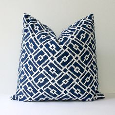 "Polka Dots Modern Decorative Designer Pillow Cover 18"" Navy Blue white ivory Accent Cushion modern geometric polka dots Indigo nautical"