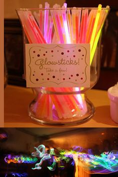 New Years Eve party idea - glowsticks! I Glowsticks! Disco Party, Nye Party, Festa Party, Glow Party, Sleepover Party, Slumber Parties, Party Time, Birthday Parties, Slumber Party Ideas