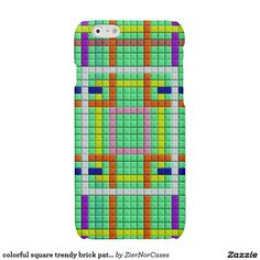 colorful square trendy brick pattern glossy iPhone 6 case