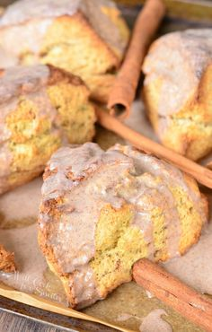 Glazed Cinnamon Swirled Scones. Classic breakfast and brunch treat made with LOTS OF cinnamon.