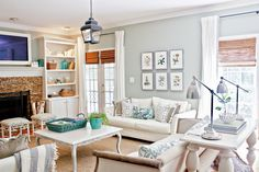 white furniture and that blue on walls:) love it
