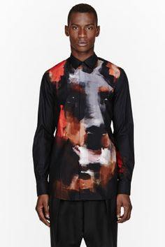 Givenchy Black Doberman Digital Print Shirt for men | SSENSE