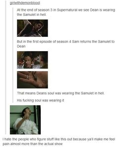 Dean's soul had the Samulet. I wonder if it still does? And does that mean because it's the God finder that God was in hell with Dean's soul?