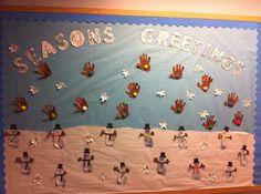 Season's Greetings Winter Themed Bulletin Board Idea