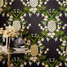 I'm totally digging this contemporary pineapple wallpaper…love the combo of the black background with the bright pop of green. I can see this pack a punch in a powder room or in a dining room above a chair rail…you feel me? A-Z Home Decor Trend 2014: Pineapples - Alice T. Chan   San Francisco Bay Area Interior Renovation and Design Specialist