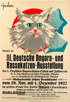 Vintage cat show German poster by Curt Junghändel (1927)
