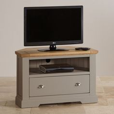 St Ives Corner TV Cabinet in Grey Painted Acacia with Natural Oak Top