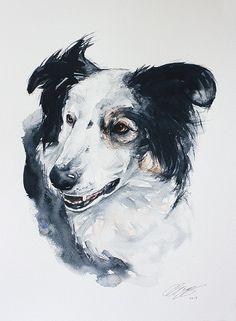 Chien peinture 15 X 20 portrait de chien par wetnosewatercolours