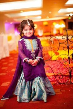 Purple and grey baby girls sharara dress designs 2018 for wedding party with dupatta Frocks For Girls, Kids Frocks, Dresses Kids Girl, Girl Outfits, Baby Dresses, Wedding Dresses, Frock Design, Baby Dress Design, Baby Design