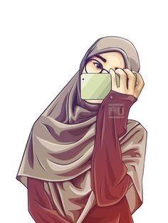 Cartoon Girl Images, Cartoon Pics, Cute Cartoon Wallpapers, Girl Cartoon, Cartoon Art, Cartoon Design, Beautiful Muslim Women, Beautiful Hijab, Hijab Drawing