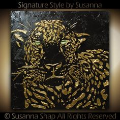 Original abstract contemporary textured leopard painting by Susanna 24x24 Ready to Hang