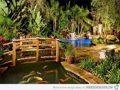 Koi Pond & garden bridge!