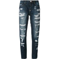 Philipp Plein distressed boyfriend jeans ($680) ❤ liked on Polyvore featuring jeans, blue, destroyed jeans, destructed boyfriend jeans, torn jeans, button front jeans and torn boyfriend jeans