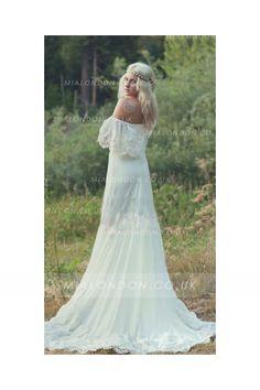 Casual Off Shoulder Boho Lace Ivory Rustic Wedding Dress