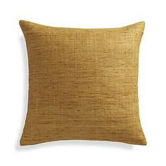 Trevino Yellow Silk Pillow | Crate and Barrel