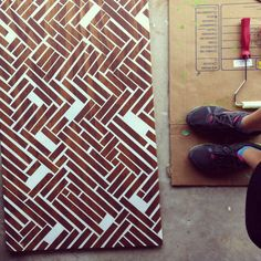 Painted Herringbone on Wood Wall Art