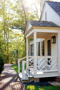 Stunning Front Door Ideas: Add a Portico! Stunning Front Door Ideas: Add a Portico! Front Door Awning, Front Porch Railings, Front Porch Design, Back Porch Designs, Walkway Designs, Front Stoop, Front Doors, Better Homes And Gardens, Veranda Design