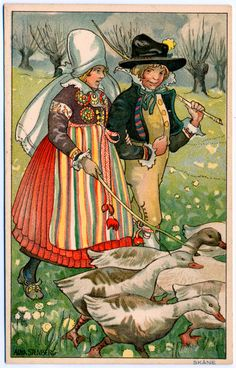 Vintage Unused Postcard by Aina Stenberg Children by stillknitting