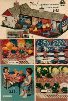 1953 Advert 2 PG Marx Toy Play Doll House Blue Willow Tea Sets Mini China | eBay