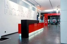 red reception desk
