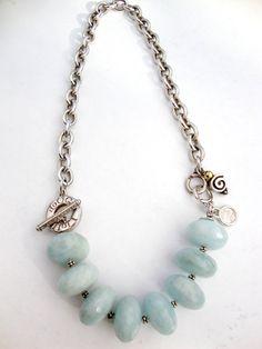 Large Aquamarine Necklace Tiffany style sterling