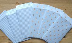 Cadeau envelopjes, Pasen, set van 6, 10 x 6 cm, papier, handgemaakt, blauw, lente by LabelsAndMore on Etsy