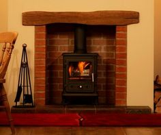 Red slim bricks to create fire place for multi fuel stove. Genius