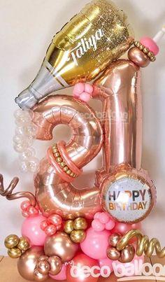 Balloon Decorations Without Helium, Helium Number Balloons, 21 Balloons, Birthday Balloon Decorations, Happy Birthday Balloons, Diy Party Decorations, Balloon Gift, Balloon Garland, Balloon Bouquet Delivery