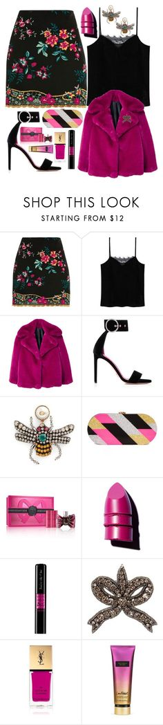 """The bee in her ears🐝"" by pulseofthematter ❤ liked on Polyvore featuring Topshop, MANGO, Oscar Tiye, Gucci, Milly, Viktor & Rolf, Anastasia Beverly Hills, Yves Saint Laurent and Victoria's Secret"