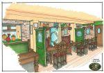 Cosy Pub Interior, sketch of pub interior, spaces broken up by painted glazed screens Pub Interior, Interior Sketch, Pub Design, Restaurant Design, Porch Area, Neutral Color Scheme, Pergola Designs, Commercial Design, Planter Boxes
