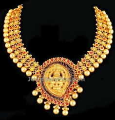 temple jewellery with golden balls - Latest Jewellery Designs