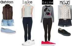 A fashion look from April 2013 featuring zara tops, embroidered shirts and grey sweater. Browse and shop related looks. 5sos Inspired Outfits, 5sos Outfits, Cute Outfits, 5sos Preferences, Teen Fashion, Fashion Outfits, Overalls Outfit, Summer Boy, Guys And Girls