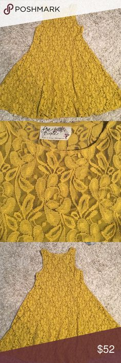 Free people dress Free people mustard yellow dress size medium. Fully lined. Pullover style. No stains or holes Free People Dresses Mini