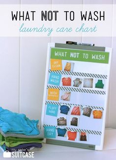 Here's a great idea for making sure your dry clean only clothes don't end up in the wash - a laundry care chart that shows how special items should be laundered! {Free Label Download}