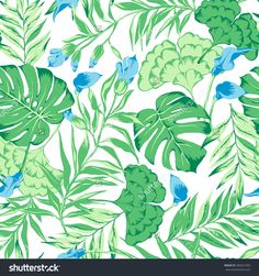 Vector Seamless Gentle Green With Blue Tropical Pattern With Exotic Flower, Philodendron, Split Leaf, Rain Forest Wild Nature, Summer Mood Tropic Background Print - 384551005 : Shutterstock
