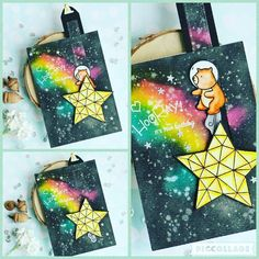 Galaxy Background, Mama Elephant, Watercolor Cards, Distress Ink, I Card, Reusable Tote Bags, Christmas Ornaments, Holiday Decor, Instagram Posts