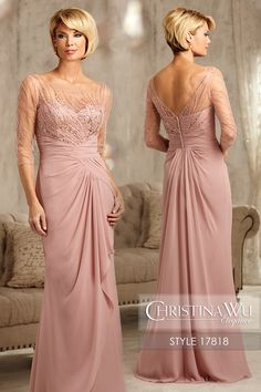 #ChristinaWuElegance Style 17818 This gown features a bateau neckline, illusion bodice, ó-length sleeve, and V-back decorated with a beaded starburst design. The skirt is a semi A-line chiffon with asymmetrical front draping and center back draping. MATERIAL Chiffon/Lace SILHOUETTE Semi A-Line NECKLINE Bateau COLOR Blush, Teal, Black