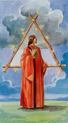 Tarot of the Renaissance - Three of Wands-Launching of a new enterprise. Investigating new directions. Exploring adventure. Distributing energy and resources. A gamble on the unknown. Diversifying. Optimism. Expansion. Broadening horizons. Taking the initiative. Trade and negotiations. Research. Educated decisions.