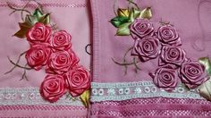 LOY HANDCRAFTS, TOWELS EMBROYDERED WITH SATIN RIBBON ROSES: FLORES DE CETIM