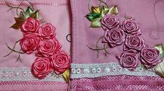LOY HANDCRAFTS, TOWELS EMBROYDERED WITH SATIN RIBBON ROSES: FLORES DE CETIM