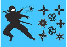 Illustration of different types of ninja throwing star vectors and even a ninja!