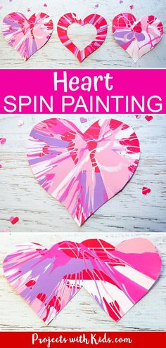 Kids will have a blast with this spin painting hearts project! An easy Valentine's Day craft for preschool kids to make on their own and an awesome process art project for kids of all ages. day crafts for kids Heart Spin Painting Art Project for Kids Arts And Crafts For Teens, Art And Craft Videos, Valentine's Day Crafts For Kids, Easy Arts And Crafts, Projects For Kids, Simple Art And Craft, Valentines Art For Kids, Preschool Valentine Crafts, Kinder Valentines
