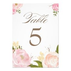 Romantic Watercolor Flowers Table Numbers Card - Dont you just love the old flower designs? Watercolor Wedding Invitations, Floral Invitation, Elegant Wedding Invitations, Wedding Themes, Wedding Cards, Wedding Ideas, Diy Wedding, Wedding Reception, Wedding Stuff