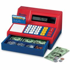 Play Money: Having a play cash register with play money will teach them about real-world experiences, the concept of cash, counting, subtracting, adding, and problem-solving, all while being fun and interactive. Learning Games, Learning Resources, Kids Learning, Play Grocery Store, Build Math, Play Money, Cash Register, Educational Toys For Kids, Wooden Puzzles