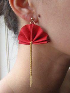 Kipul, Laura Earrings, Red Leather.