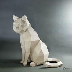 Katze Cat Low-Poly-Modell Katze Skulptur, Haustier, Katze Kit, Papercraft Kit, DIY Katze, 3D Papiermodelle Tiere